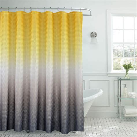 Yellow And Grey Window Curtains Ombre Waffle Weave 70 In W X 72 In L Yellow Grey Shower Curtain With Beaded Rings Ymc005937