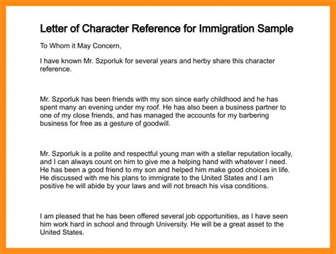 exle for good cv moral character letter for immigration exle 6 moral