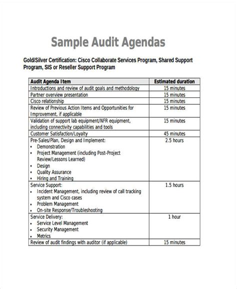 audit agenda template sle audit program form the cgsp audit report