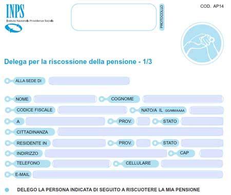 delega per modello delega per il ritiro della pensione inps compilabile