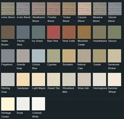 colors of siding vinyl siding