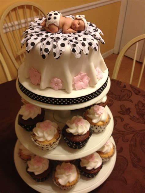 Black And Pink Baby Shower Cakes by Black White And Pink Baby Shower Cake Cakecentral