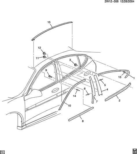 2004 pontiac grand prix parts diagram 2004 2008 pontiac grand prix window trim belt molding set