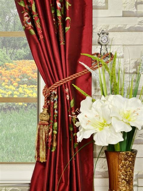 red embroidered curtains red embroidered dupioni silk curtains eclectic