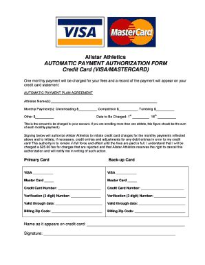 automatic credit card payment authorization form template fillable allstar athletics automatic payment