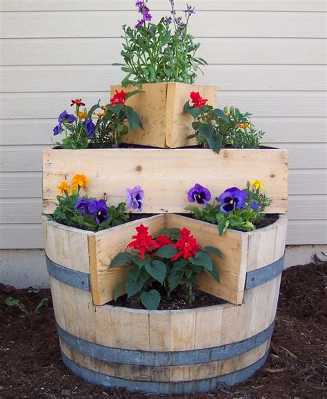 Oak Barrel Planter by Wine Barrels Wine Barrel Planters