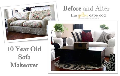 Sofa Makeover by The Yellow Cape Cod Ten Year Sofa Makeover