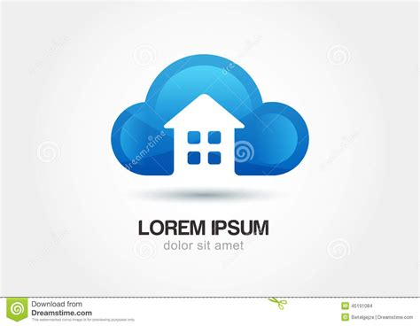 cloud house music cloud emblem with house silhouette abstract vector logo icon te stock vector image