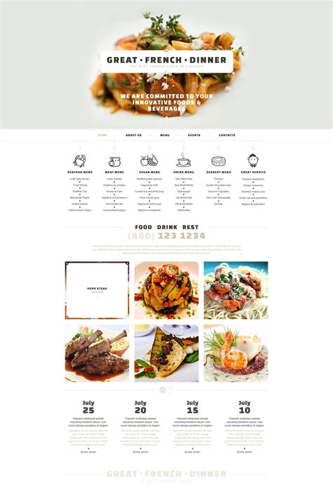 responsive website templates for quiz french restaurant responsive website template 52814