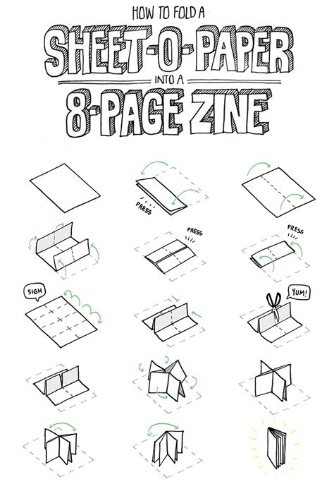 How To Fold A3 Paper Into A Booklet - 8 pg zine from a single sheet of paper zine creative