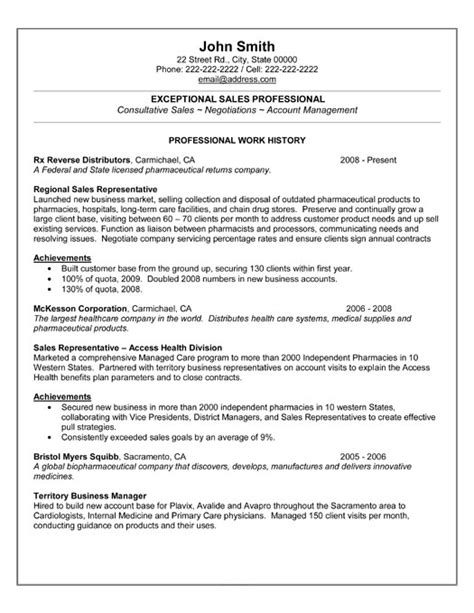 Resume Sles For It Professionals Sales Professional Resume Template Premium Resume Sles Exle