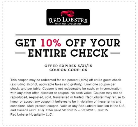 printable restaurant coupons red lobster 10 off red lobster expires may 31st 2015 restaurant