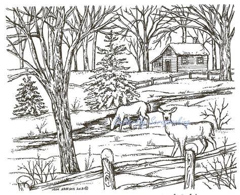 winter deer coloring pages winter deer cabin scene wood mounted rubber st