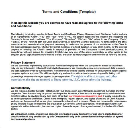 Terms and Conditions Sample   8  Documents in PDF, Word