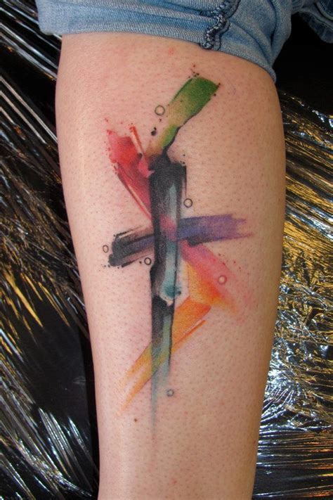 modern cross tattoos watercolor cross if it could be done small