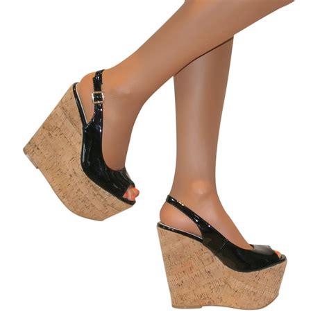Sandal Wedges Rm01 Hitsm 2 slingback platform patent cork wedge high heel peep toe shoe sandal size ebay