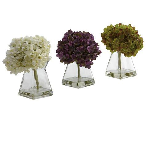 hydrangea silk flower arrangement with vase set of 3