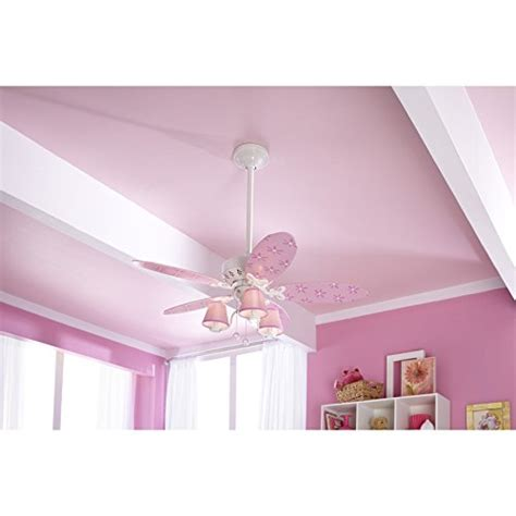 pink and white ceiling fan hunter dreamland 44 in white and pink kids downrod or