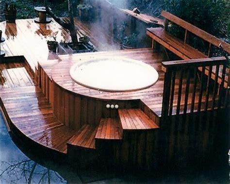wood around bathtub wood deck around hot tub swimming pools pinterest