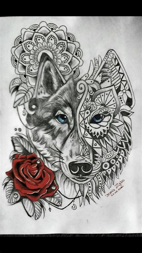 wolf with rose tattoo mandala wolf pinteres