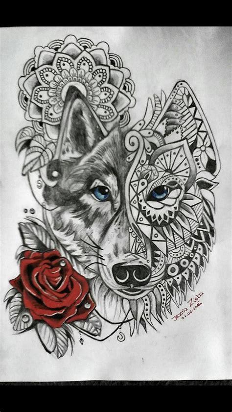 wolf rose tattoo mandala wolf pinteres