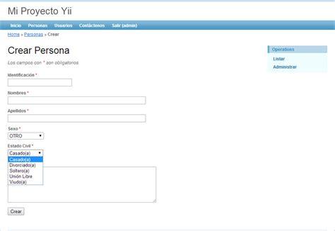 tutorial de yii framework en español yii framework en espa 241 ol combo o lista desplegable basada