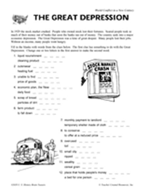 Great Depression Worksheet by The Great Depression Vocabulary Printable 5th 8th Grade