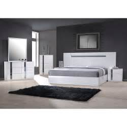 palermo white lacquer on chrome 5 pc bedroom set bed