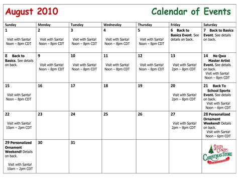 August 2010 Calendar August Calendar Of Events Santa Claus Store