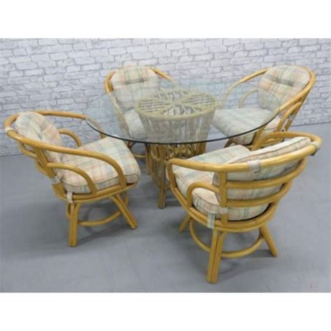 mcguire style bentwood rattan patio dining table chairs