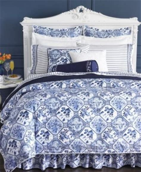 Blue And White Coverlet Ralph Palm Harbor Octagonal Comforter