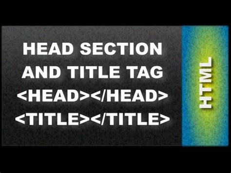 head section html web design tutorials html head section and title tag