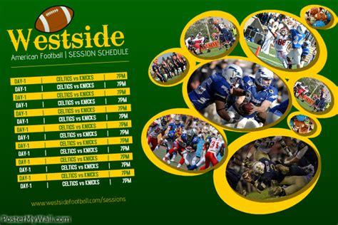 Football Sports Team Schedule Template Postermywall Sports Schedule Poster Templates