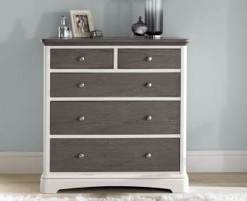 neve soft grey and weathered chest of drawers high gloss wooden bedroom chests