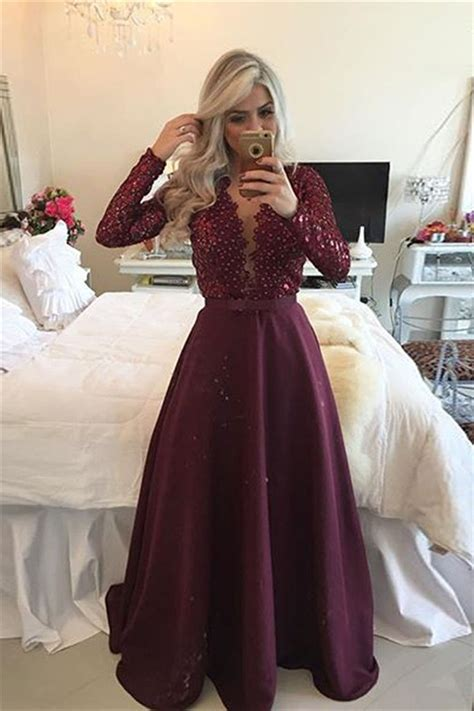 New Arrival Sleeved Burgundy Prom Dresses 2017 Lace
