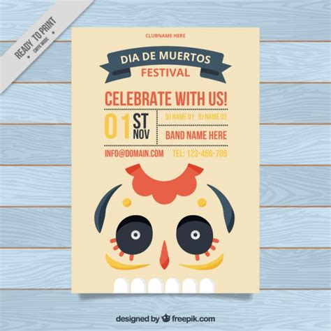 Minimalist Flyer Design minimalist flyer for day of the dead vector free