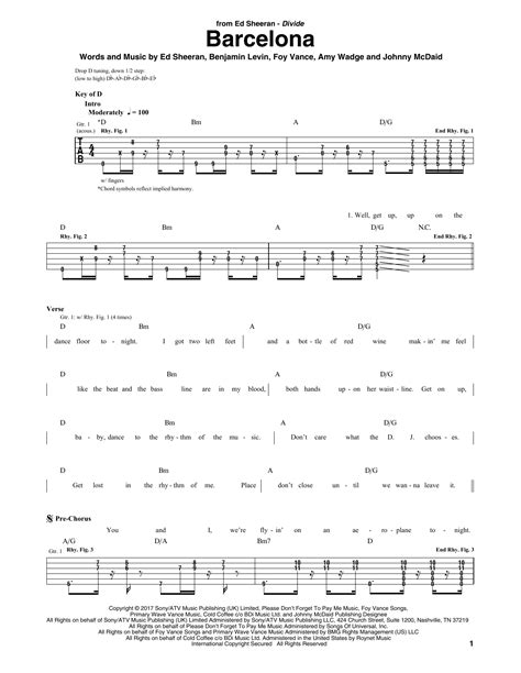 ed sheeran easy chords barcelona by ed sheeran guitar rhythm tab guitar