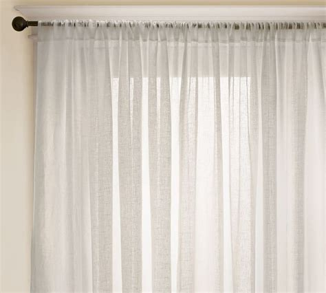 how to drape a sheer curtain over a rod linen sheer drape contemporary curtains by pottery barn