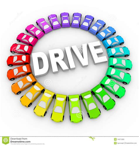 drive word drive many colorful cars in circle stock photos image
