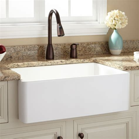 kitchen faucets for farmhouse sinks 30 quot baldwin fireclay farmhouse sink kitchen sinks by signature hardware
