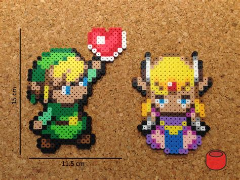 Loz Gift Small 9317 and link magnets made from perler by djbits on etsy