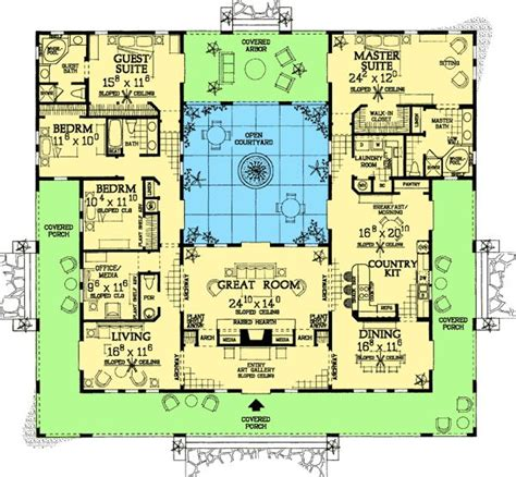 courtyard home plan 81384w open courtyard home plan the