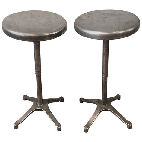 pair of brushed steel bar stools for sale at 1stdibs pair of industrial brushed steel adjustable pedestal
