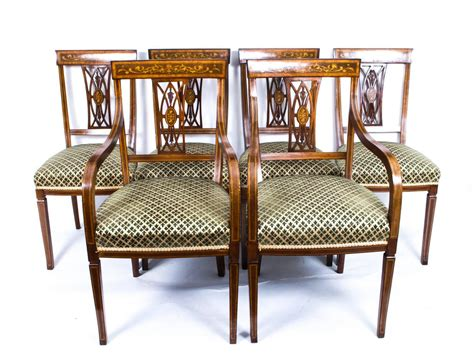 antique set of six edwardian inlaid mahogany dining chairs