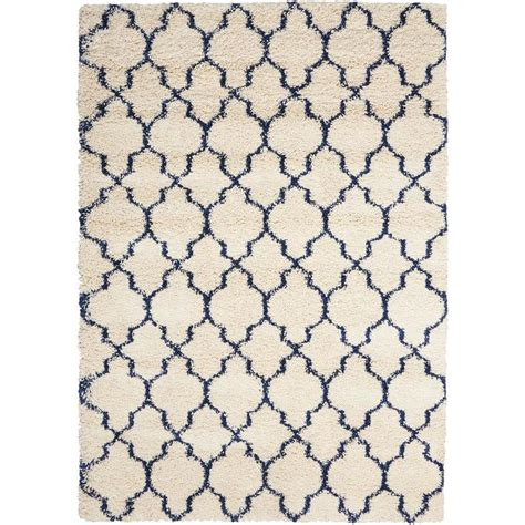 Shop Nourison Amore Ivory Blue Indoor Area Rug Common 10 10 X 13 Area Rug