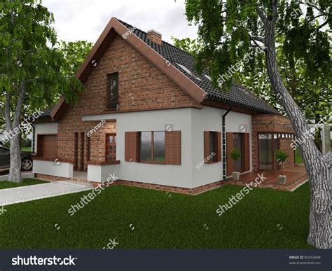 european house music visualization of modern house with garden in forests european type of architecture