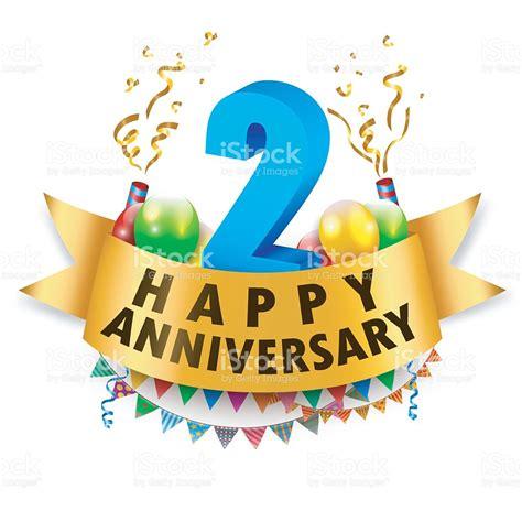 happy 2nd anniversary celebration stock vector art