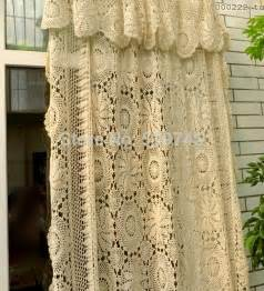 European Lace Curtains Aliexpress Buy Handmade Crochet Flowers Woven Cotton Lace Curtains Beige Bed Cover