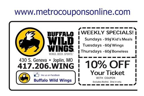 coupon for wild wings cafe
