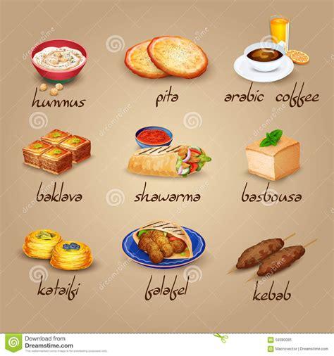 Fast Food Kitchen Design arabische lebensmittel ikonen eingestellt vektor abbildung